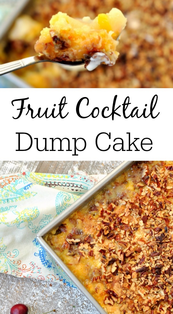 Fruit Cocktail Dump Cake - An easy fruit cocktail recipe with cake mix!