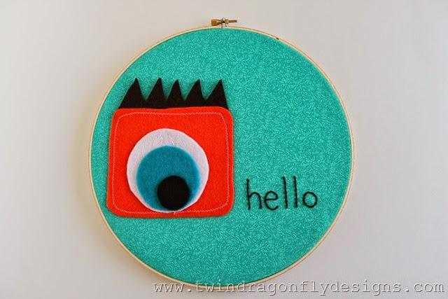 01 - 733 Blog - Monster Embroidery Hoop Art