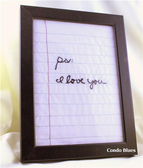 10 - Condo Blues - Embroidered Love Note