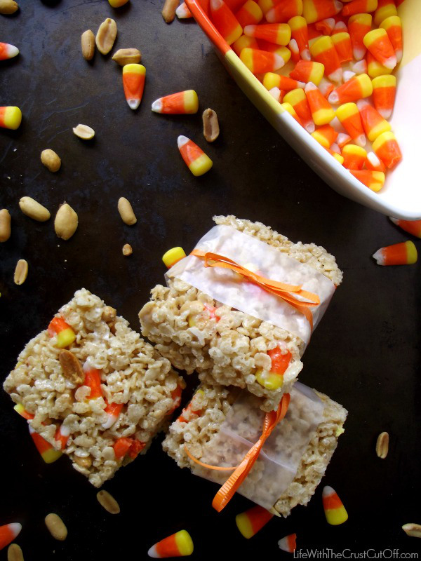 10 - Life With the Crust Cut Off - Candy Corn Peanut Rice Krispie Treats