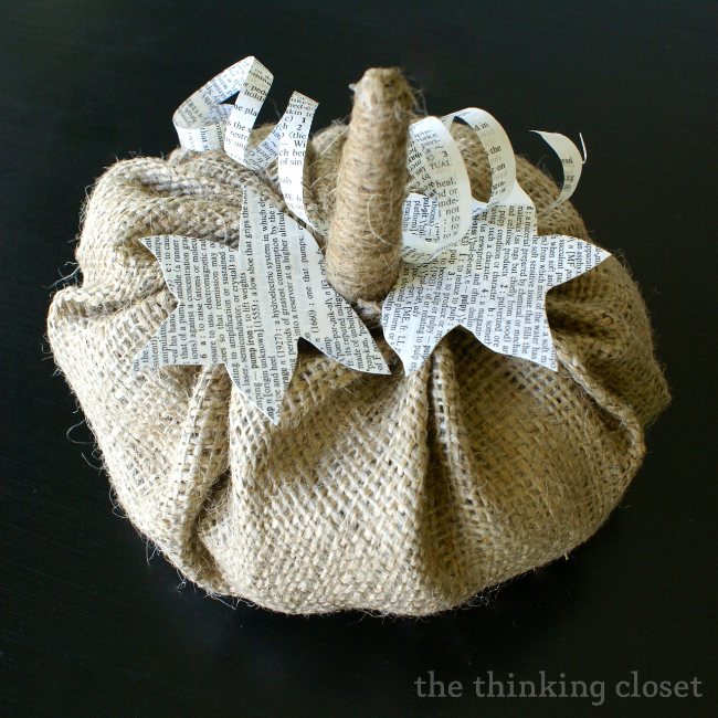 10 - Thinking Closet - Book Page and Burlap Pumpkins