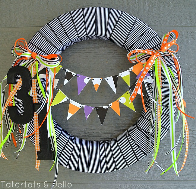 12 - Tatertots and Jello - Black and White Halloween Wreath