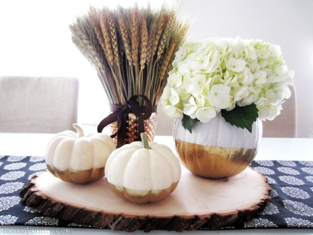 20 - Homey Oh My - Gold Dipped Pumpkin Vase