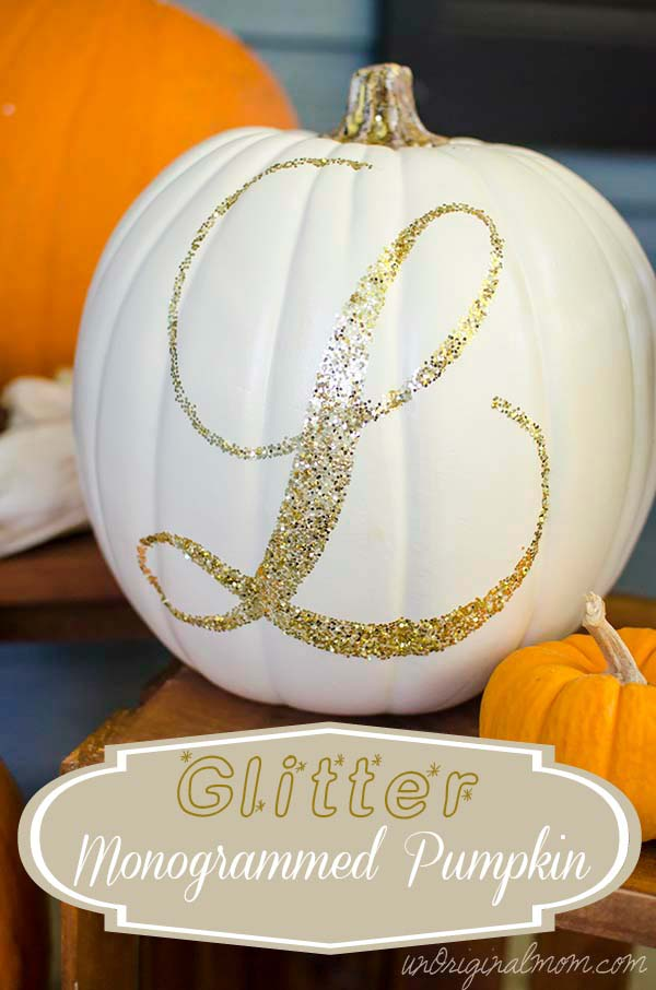 21 - Unoriginal Mom - Glitter Monogrammed Pumpkin