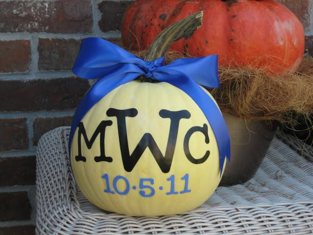 22 - Mom 4 Real - Monogrammed Birth Date Pumpkin