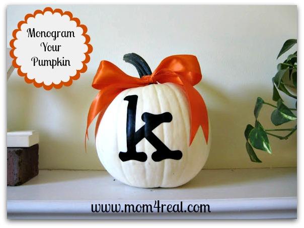 30 - Mom 4 Real - Monogrammed Pumpkin