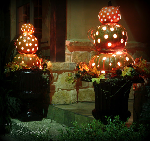 32 - All Things Beautiful - Lighted Pumpkin Topiary