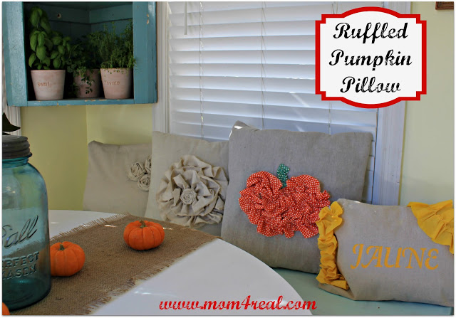 33 - Mom 4 Real - Ruffled Pumpkin Pillow
