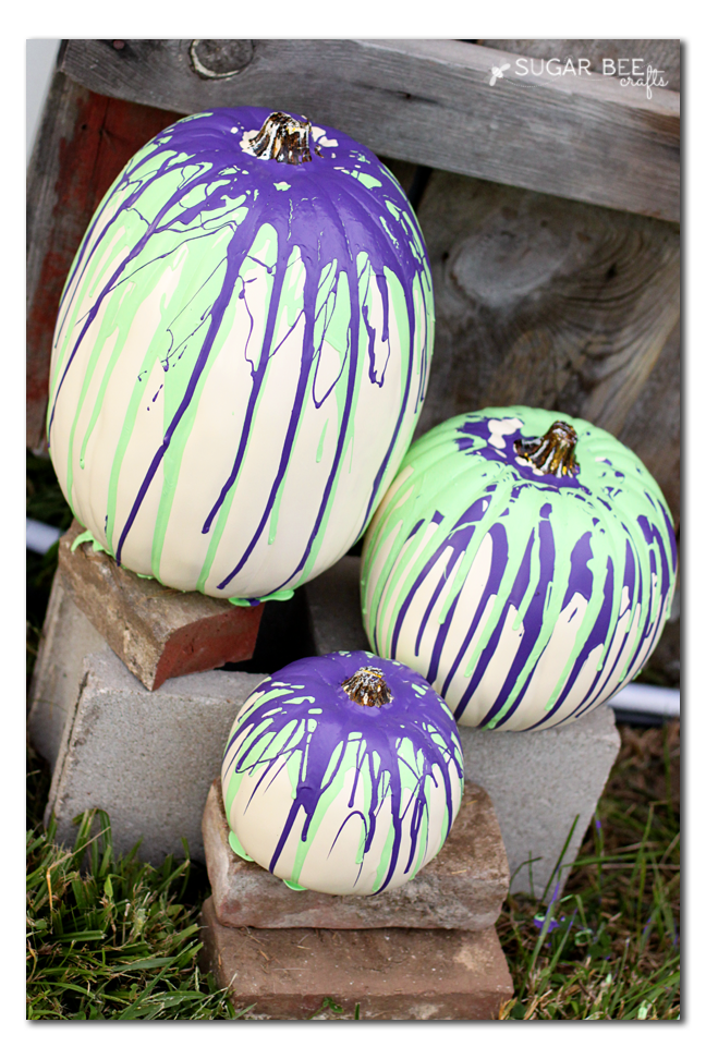 38 - Sugar Bee Crafts - Paint Drip Pumpkins