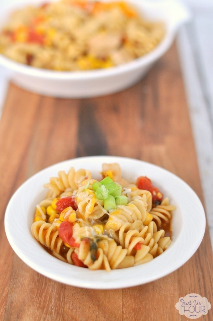 This is our new weeknight favorite! We love the chicken enchilada flavor in a pasta dish.