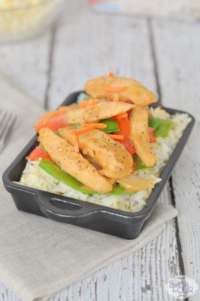 I love easy to make stir fry recipes like this chicken satay with orange jasmine rice.