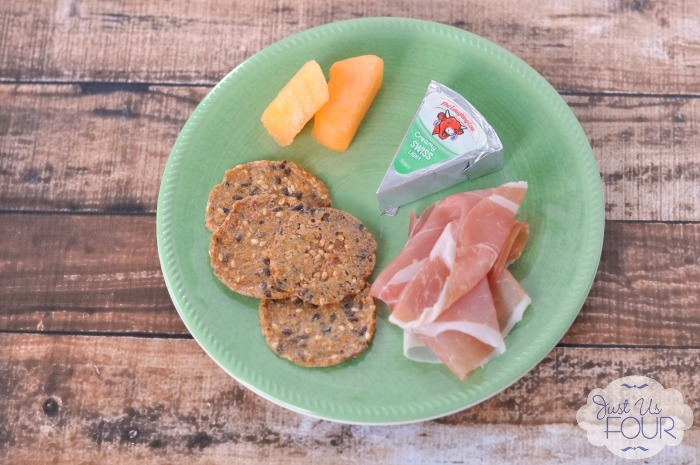 Laughing Cow wedges are the perfect snack option. I love this pairing with prosciutto, crackers and melon.