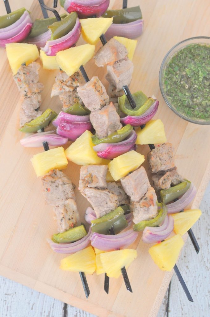 Kabobs are our favorite thing to grill! Love the combination of marinated pork and fresh vegetables.