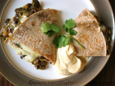 08 - Healthy Food for Living - Pumpkin, Black Bean and Jalapeno Quesadilla