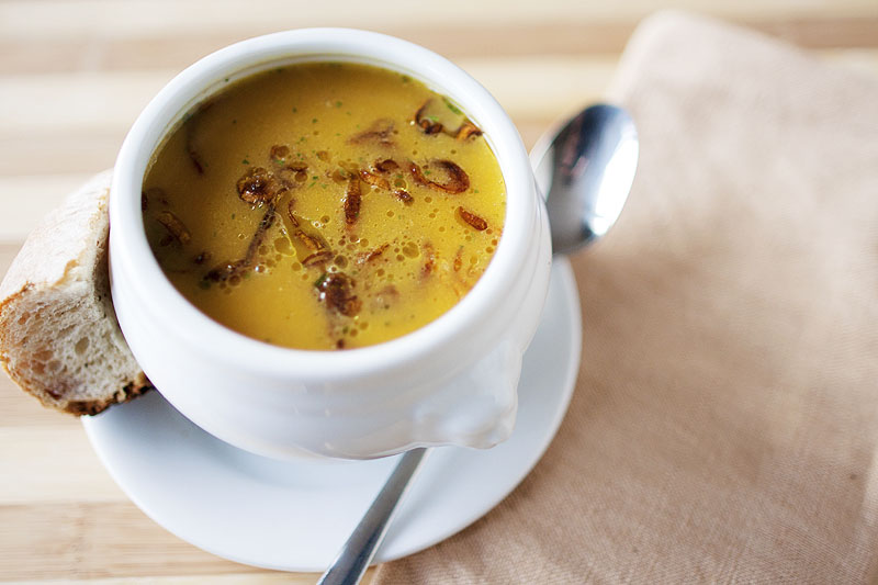 11 - The Crepes of Wrath - Pumpkin Soup with Crispy Shallots