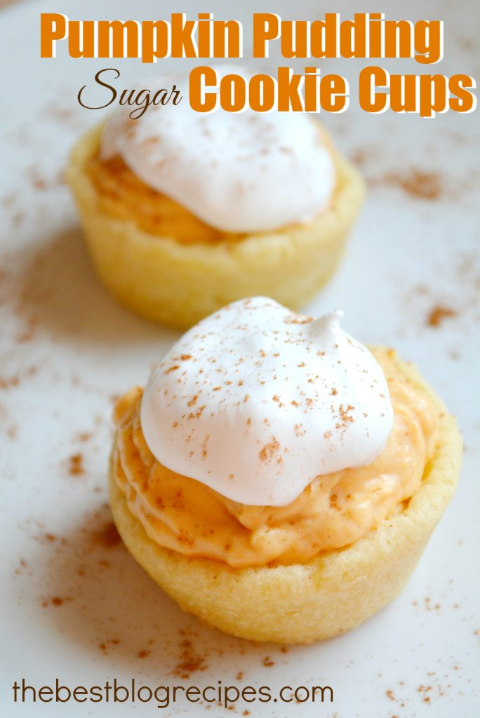 Pumpkin Pudding Sugar Cookie Cups - Just Us Four