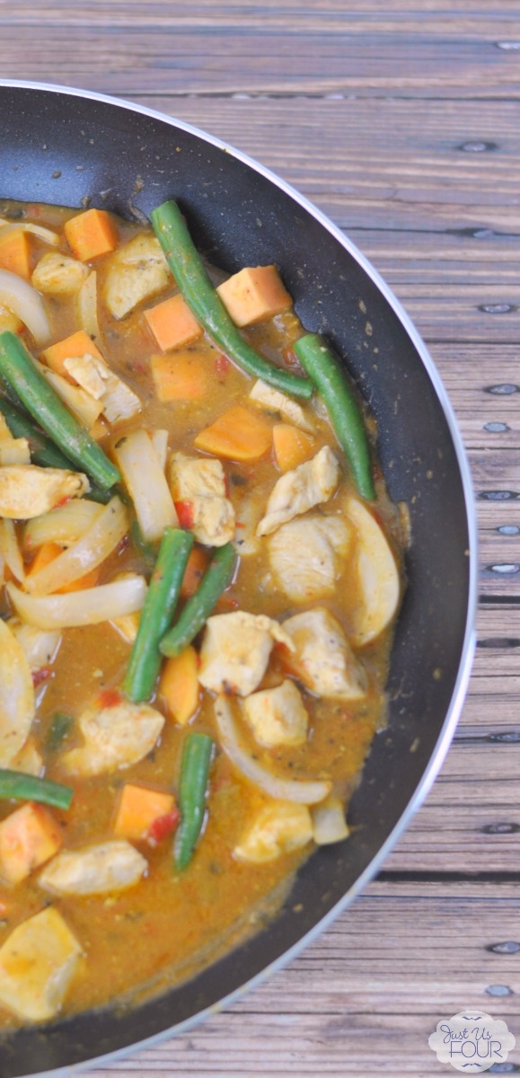 One pan and 15 minutes is all you need for a delicious chicken and vegetable coconut curry