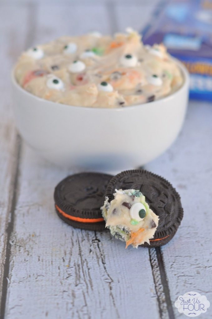 Monster Cookie dip on an Oreo sounds amazing!