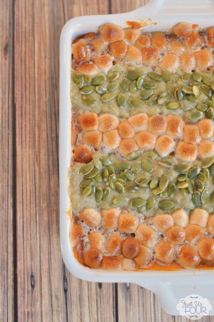 Sweet Potato Casserole with cinnamon marshmallows and pepita streusel.