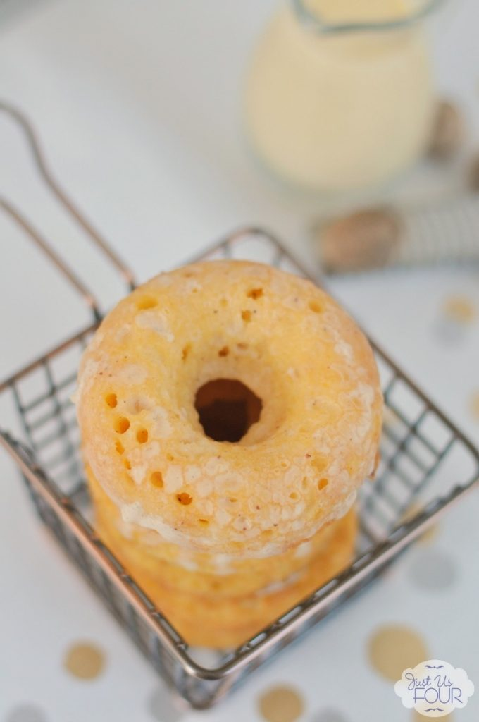 Baked eggnog donuts you can easily make at home and enjoy all holiday long!