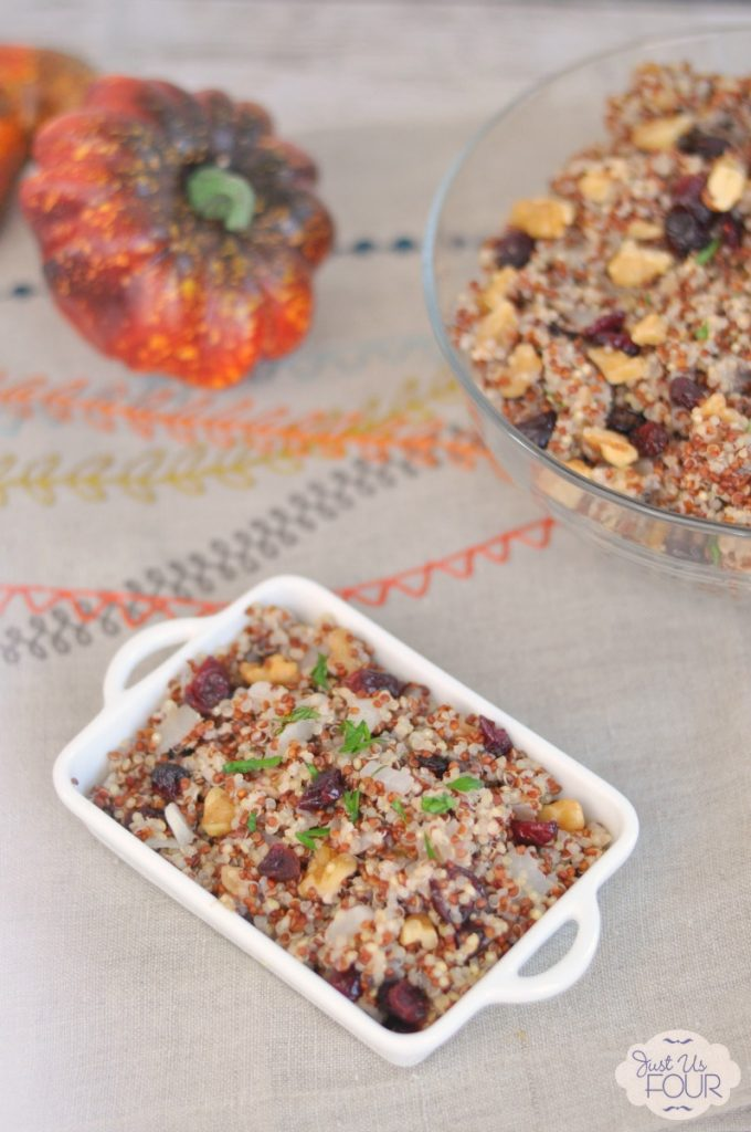 A great gluten free replacement for regular stuffing! I love the idea of making a cranberry walnut quinoa stuffing for Thanskgiving!