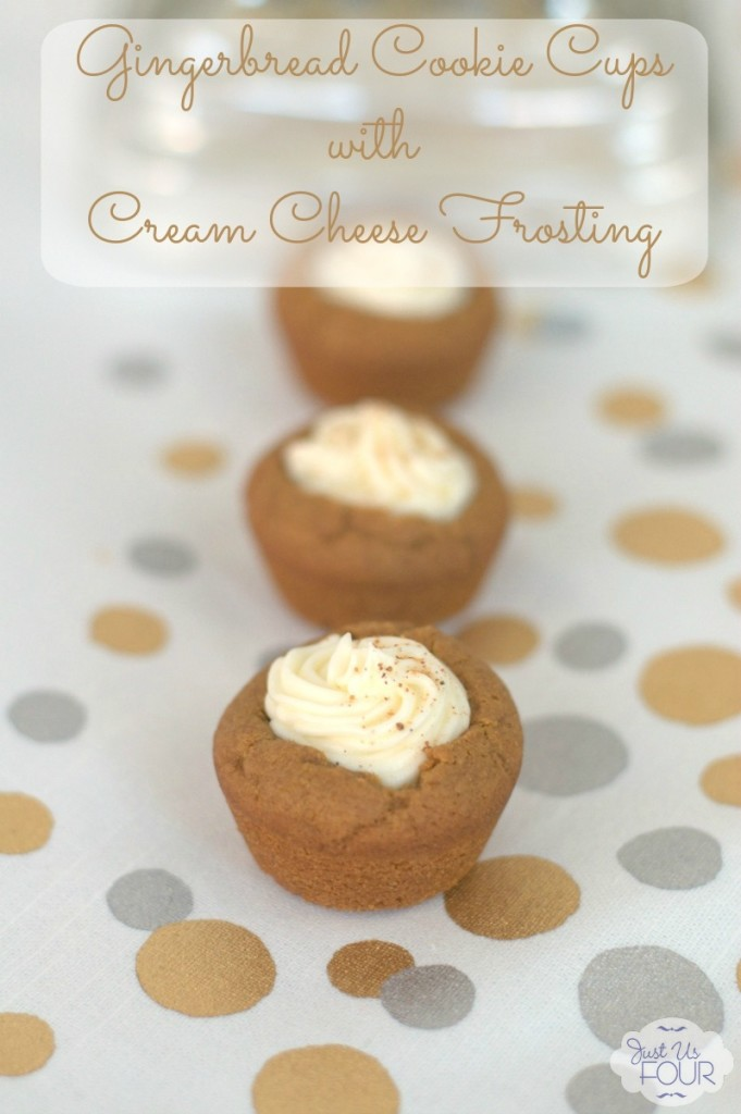 These mini gingerbread cookie cups are filled with delicious cream cheese frosting! Yummy!
