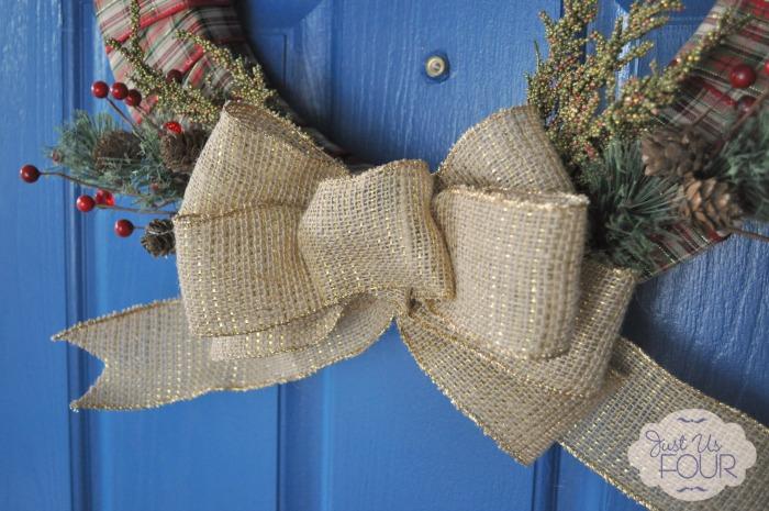 Plaid and Burlap Christmas Wreath