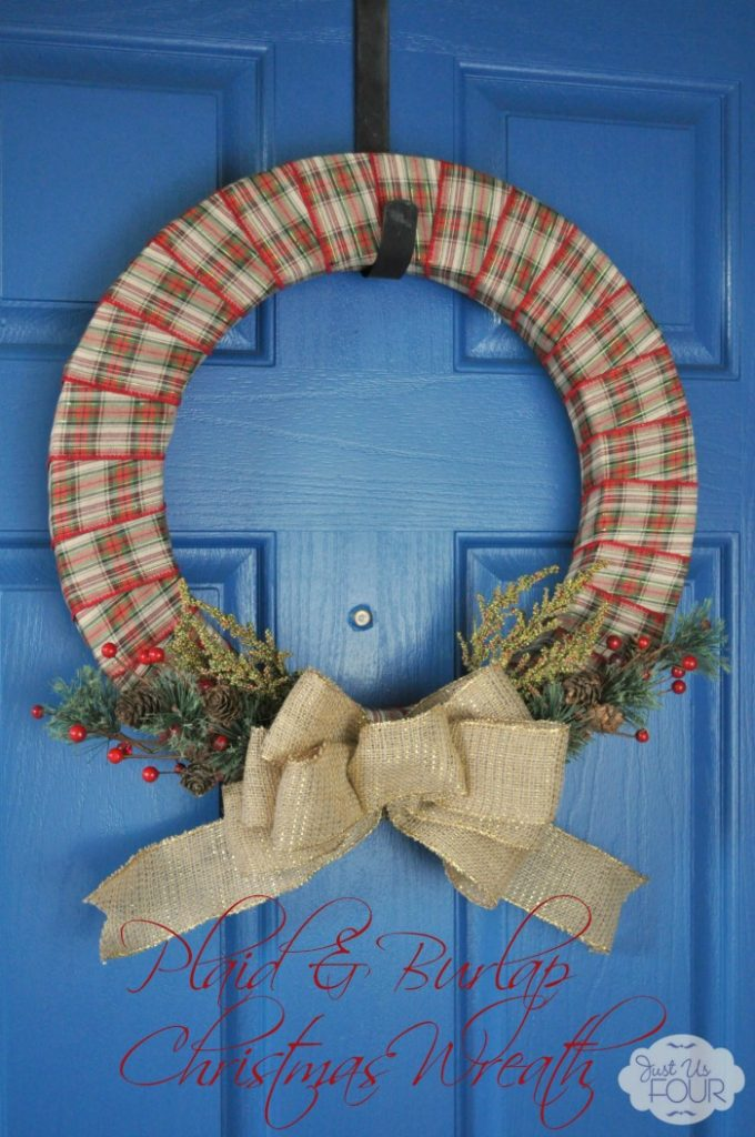 A simple burlap and plaid Christmas wreath is so easy to make and looks beautiful.