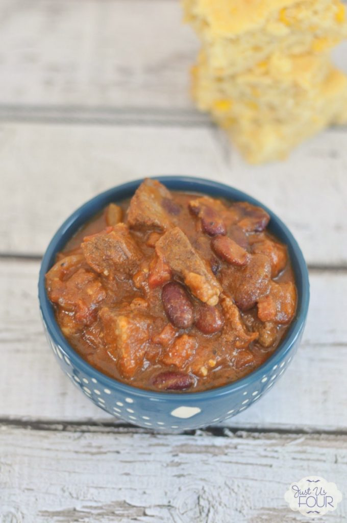 Delicious Slow Cooker Beef Bacon Chili made in the slow cooker!