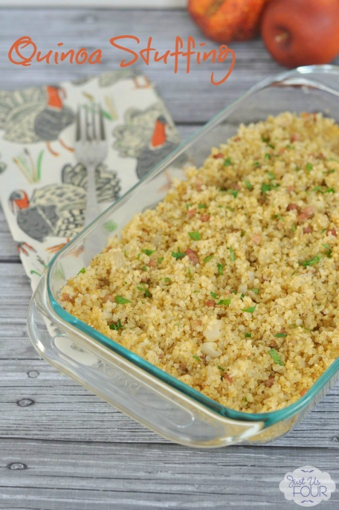 This is a great recipe with all the flavors of traditional Thanksgiving stuffing but made gluten free by using quinoa instead. Quinoa Stuffing with pancetta is an awesome gluten free option.
