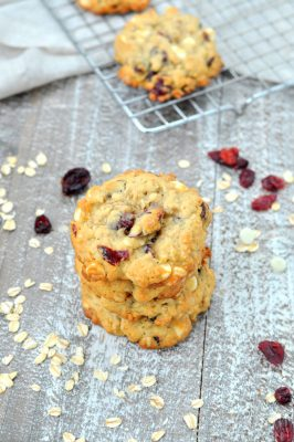 Photo of stack of white chocolate oatmeal cranberry cookies