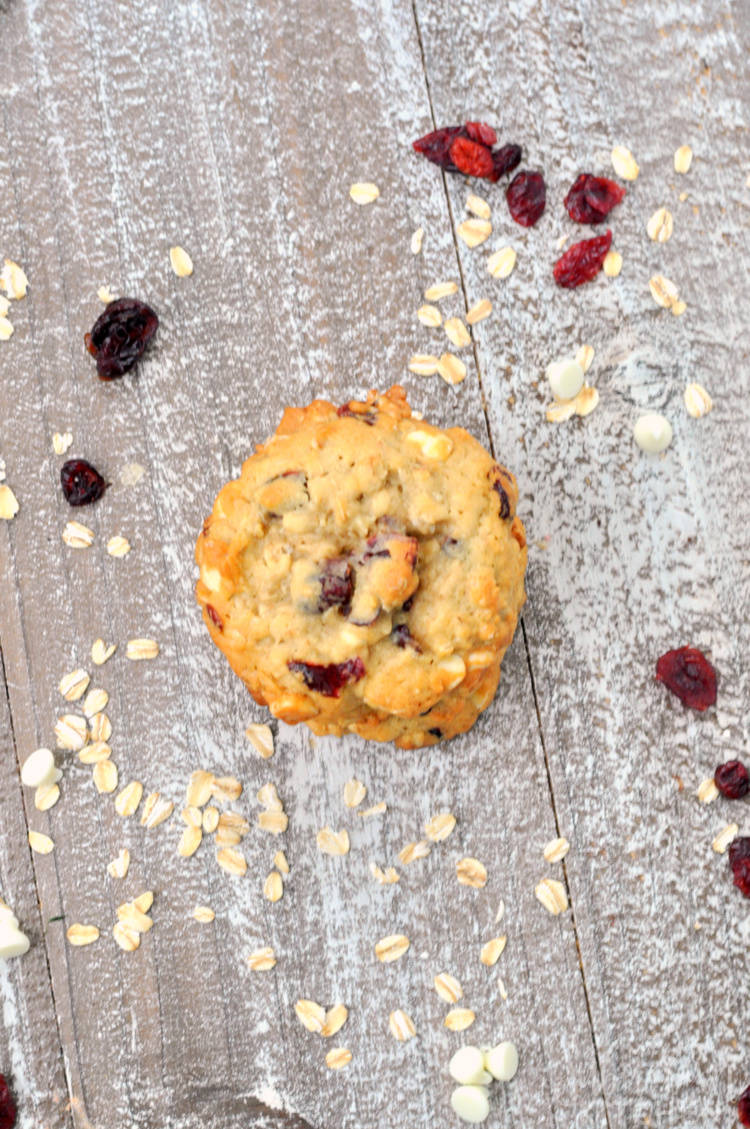 Overhead photo of white chocolate cranberry oatmeal cookies