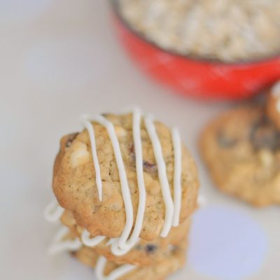 Oatmeal Walnut Cookies Dipped In White Chocolate