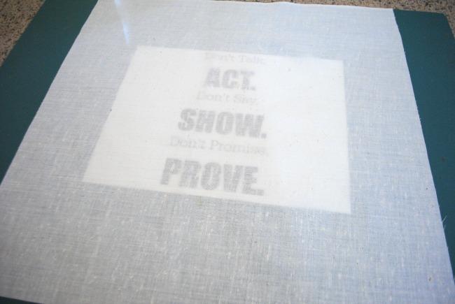 Put paper under fabric