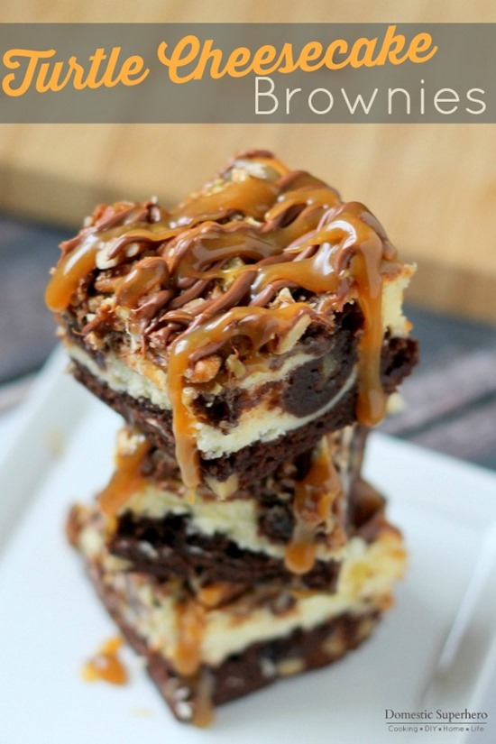 Turtle Cheesecake Brownies - Decadent brownies topped with a cheesecake layer, more brownies, pecans, ooey-gooey caramel, and chocolate drizzle. These are the BEST cheesecake brownie bars EVER!
