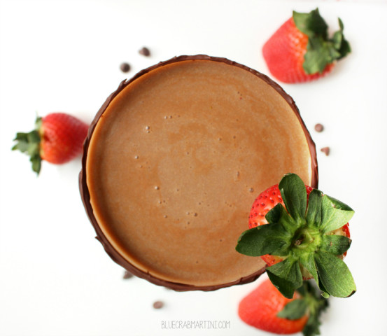 Shake up one of these Chocolate Covered Strawberry Martinis for Valentine's Day! #ValentinesDay #martini #cocktail | BlueCrabMartini.com