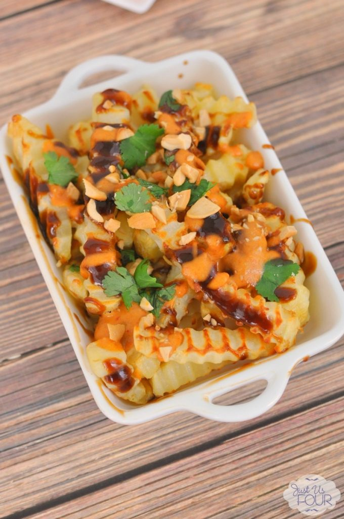 Delicious Pad Thai French fries are the perfect thing to serve at your the party for the BIG Game this year!