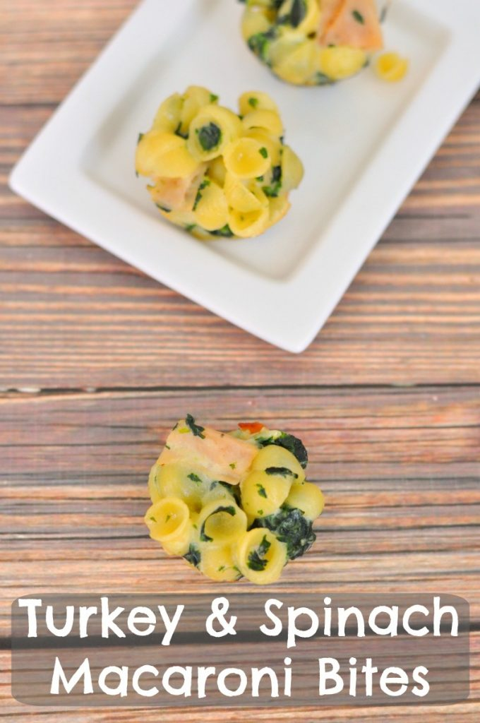 Macaroni and Cheese bites mixed with healthy spinach and protein packed turkey. This is a great kid friendly food!
