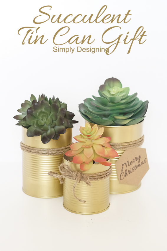 07 - Simply Designing - Gold Tin Can Succulent