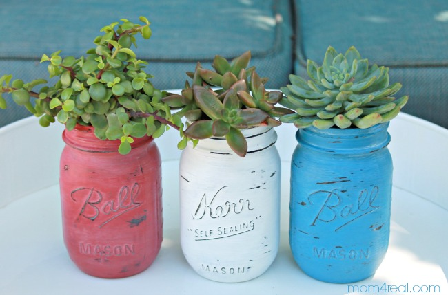 17 - Mom 4 Real - Patriotic Mason Jar Succulents