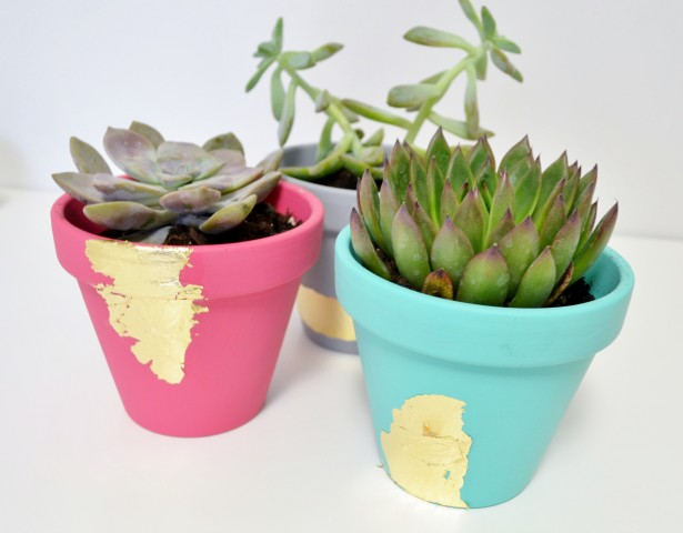 23 - Mod Podge Rocks - Gold Leaf Succulent Planters