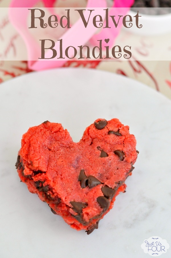 The most delicious red velvet blondies ever! Cut them into a heart and they are perfect for Valentine's Day!