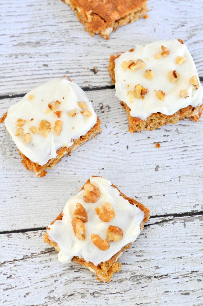 Carrot Cake Cookie Bars - Just Us Four