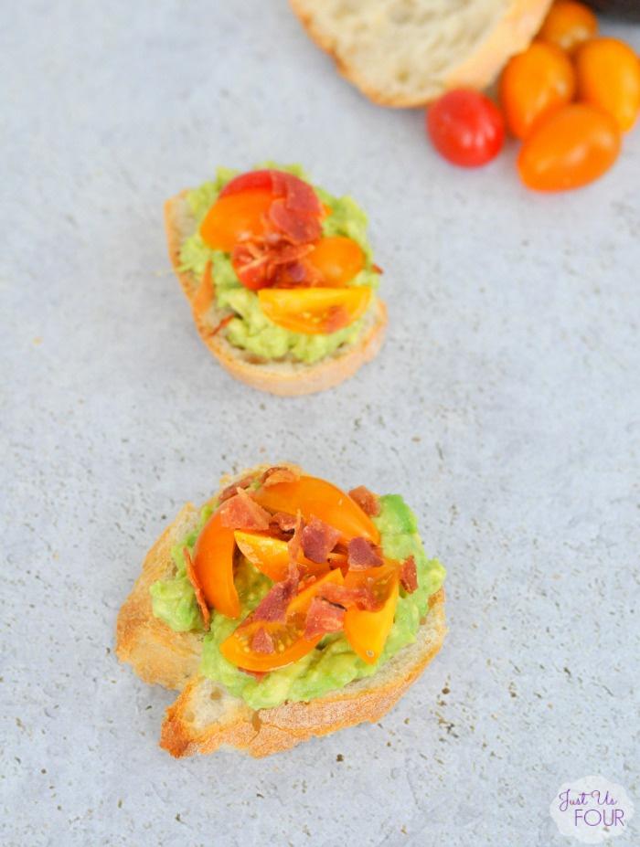 Bacon, Avocado and Tomato Crostini