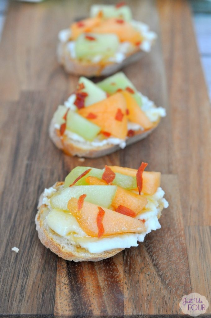 Melon and Prosciutto Crostini