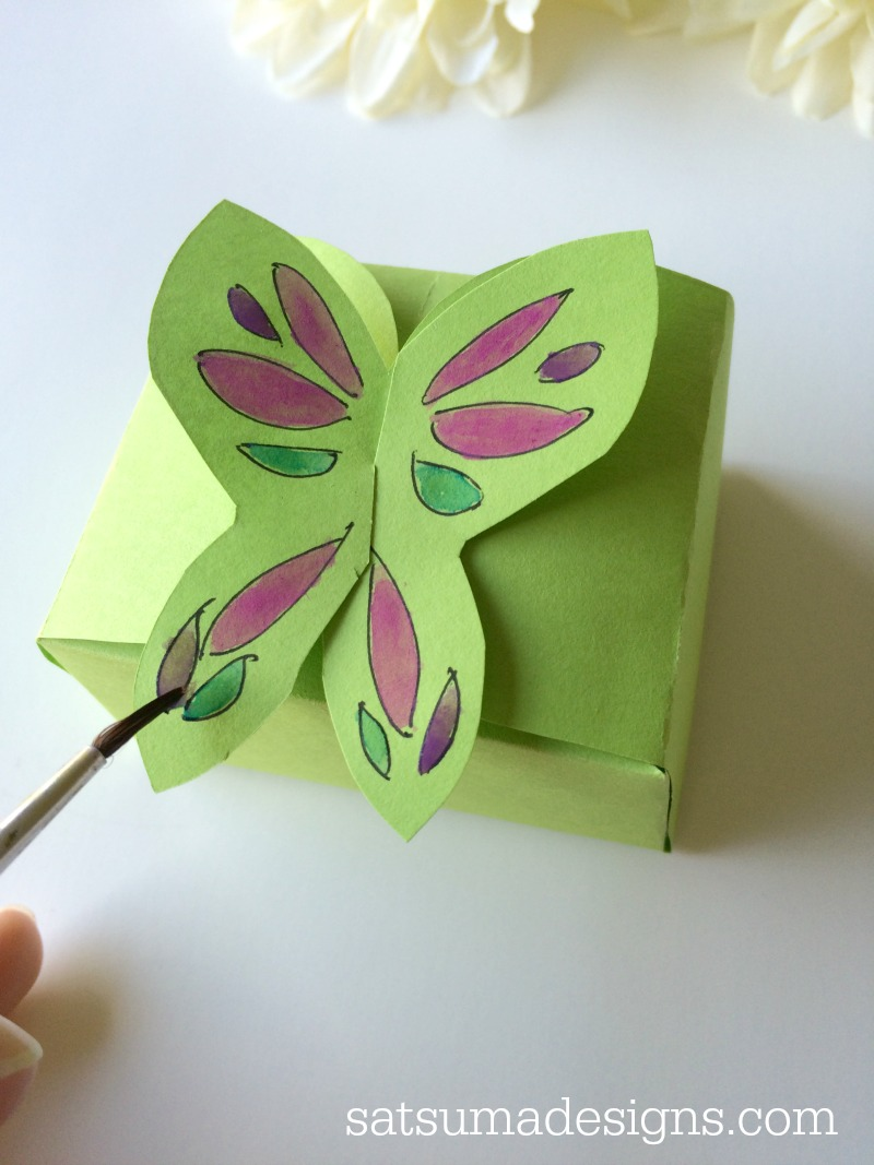 paper butterfly box painted