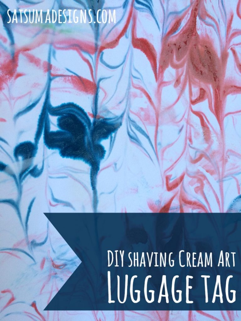 diy shaving cream art luggage tag 5