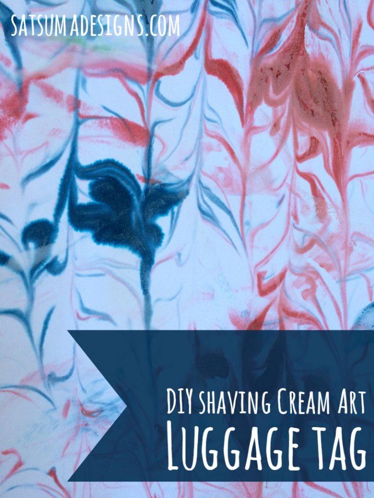 diy shaving cream art luggage tag 5