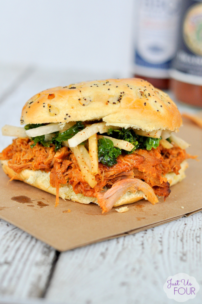 Craft Beer Braised Pork Sandwich with Jicama Kale Slaw