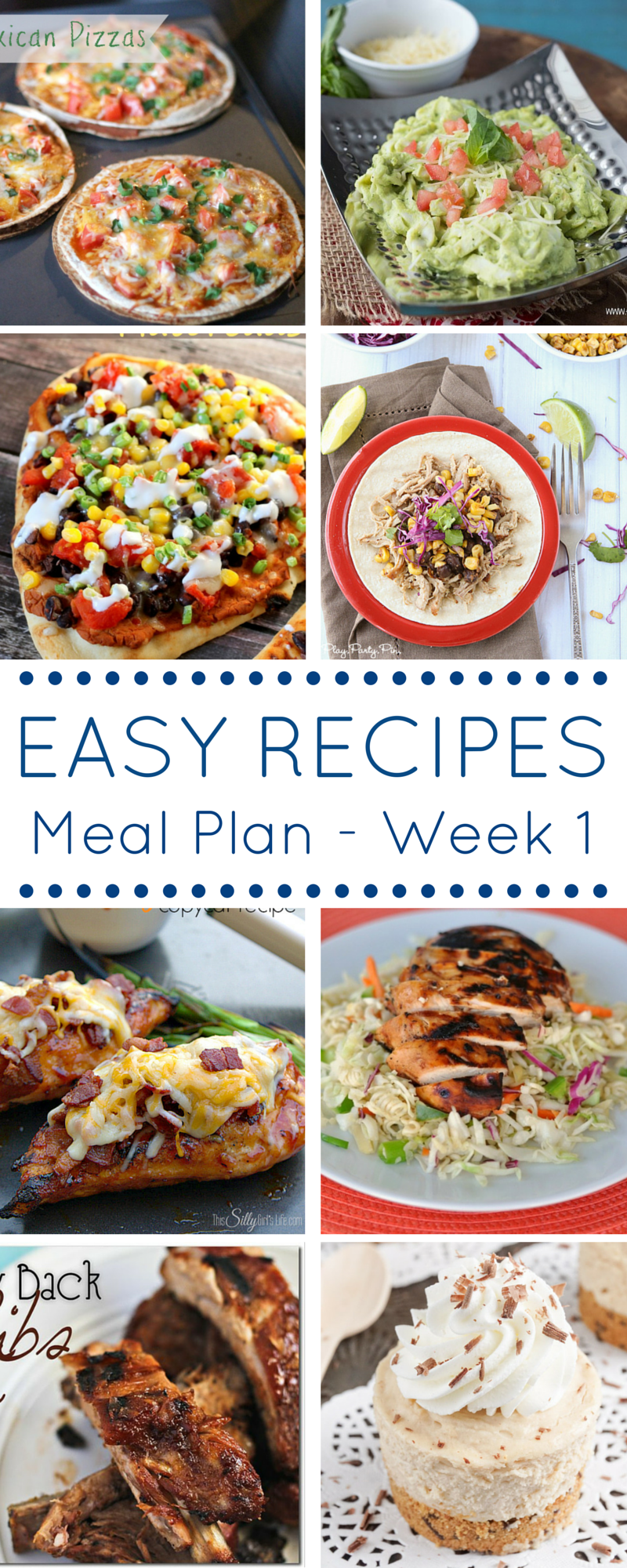 Easy Recipes Weekly Meal Plan - Week 1